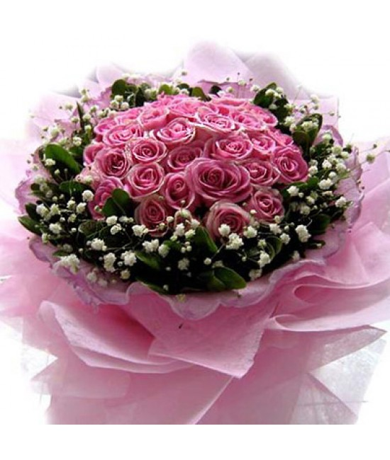 28 ružových ruží
