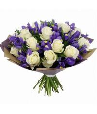 Modrá lagúna  mix biele ruže a iris  VEĽKOSŤ L