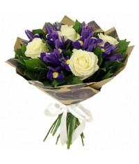 Modrá lagúna  mix biele ruže a iris  VEĽKOSŤ S